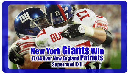 New York Giants Win Superbowl LXII, 17–14 Over New England Patriots